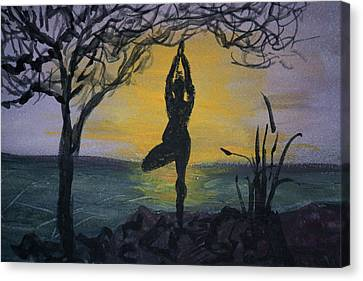 Yoga Tree Pose Canvas Print by Donna Walsh
