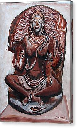 Canvas Print featuring the painting Yogini by Anand Swaroop Manchiraju