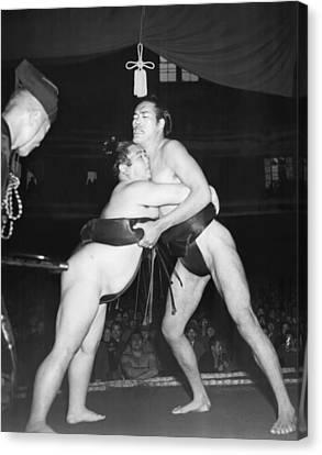 Yokozuna  Sumo Wrestler Canvas Print by Underwood Archives