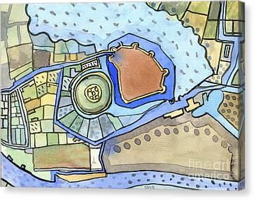 York Castle Map Canvas Print by Elizabetha Fox