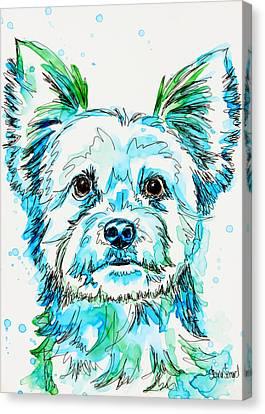 Yorkie In Green Canvas Print by Shaina Stinard