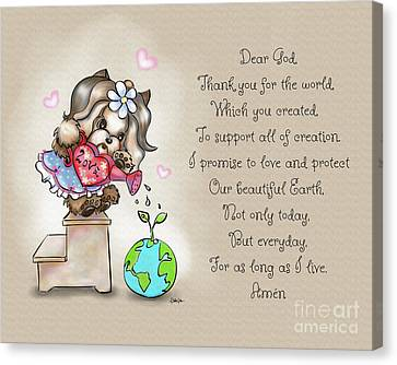 Yorkie Earth Day Prayer Canvas Print