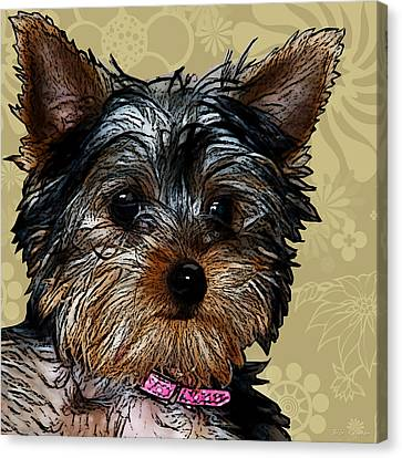 Yorkie In Beige Canvas Print