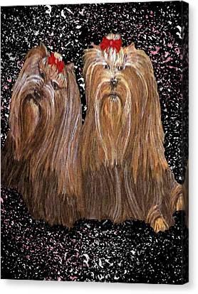 Yorkie Love Canvas Print by Michelle Audas