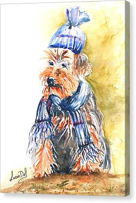 Yorkie Canvas Print by Lucia Del