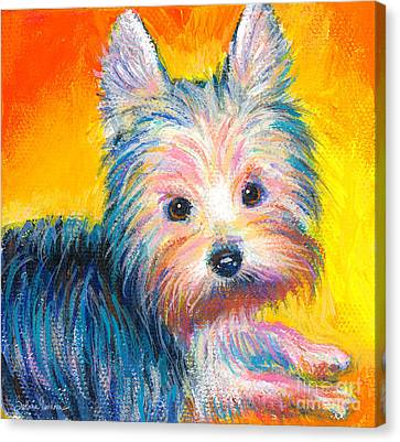 Yorkie Puppy Painting Print Canvas Print by Svetlana Novikova