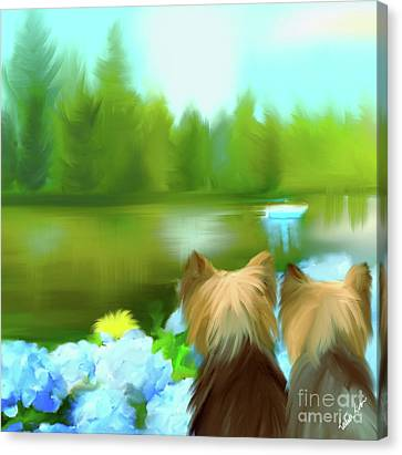 Yorkies At The Lago Negro Canvas Print