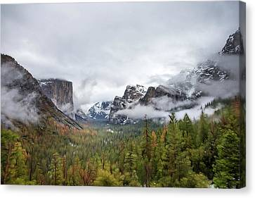 Yosemite And El Capitan In Winter Canvas Print
