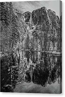 Canvas Print featuring the photograph Yosemite Falls From The Swinging Bridge In Black And White by Bill Gallagher