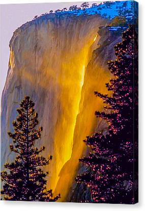 Yosemite Firefall Painting Canvas Print by Dr Bob Johnston