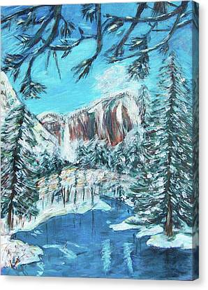 Yosemite In Winter Canvas Print by Carolyn Donnell