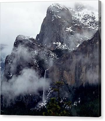 Yosemite Snowy Bridalveil Falls  Canvas Print