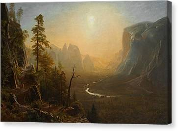 Yosemite Valley Canvas Print - Yosemite Valley Glacier Point Trail by Albert Bierstadt