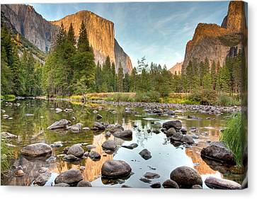 Yosemite Valley Reflected In Merced River Canvas Print by Ben Neumann