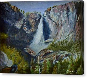 Yosemite Waterfall Canvas Print by Quwatha Valentine