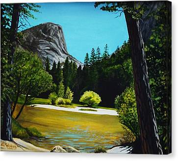 Canvas Print featuring the painting Yosemite's Window by Elizabeth Robinette Tyndall