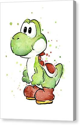 Character Canvas Print - Yoshi Watercolor by Olga Shvartsur