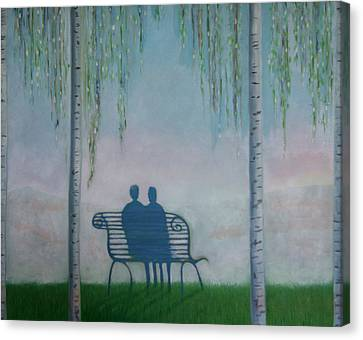 Canvas Print featuring the painting You And I On The Bench by Tone Aanderaa