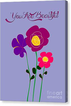 You Are Beautiful - Poppies Canvas Print by Celestial Images