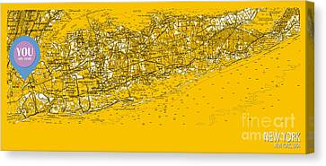 You Are Here New York Old Map Year 1954 Canvas Print by Pablo Franchi