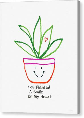 Canvas Print featuring the mixed media You Planted A Smile- Art By Linda Woods by Linda Woods