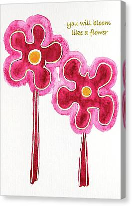 Canvas Print featuring the drawing You Will Bloom Like A Flower by Frank Tschakert