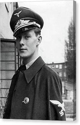 Ww2 Canvas Print - Young And Handsome German Luftwaffe Officer With Cloak by Charles Meagher