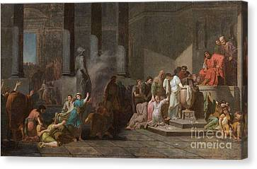 Young Athenian And Athenian Casting Lots To Be Delivered To The Minotaur Canvas Print by MotionAge Designs