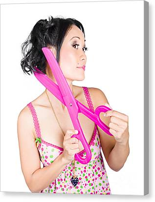 Young Beautiful Woman Cutting Hair At Beauty Salon Canvas Print