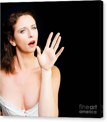 Young Beautiful Woman Miming In Silent Drama Canvas Print