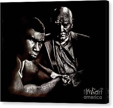 Young Boxer And Soon To Be World Champion Mike Tyson And Trainer Cus Damato Canvas Print by Jim Fitzpatrick