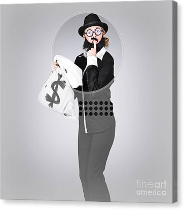 Young Business Person Holding Money At Bank Teller Canvas Print by Jorgo Photography - Wall Art Gallery
