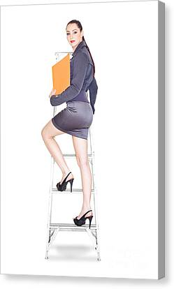 Young Business Woman Climbing The Corporate Ladder Canvas Print by Jorgo Photography - Wall Art Gallery