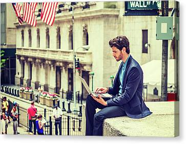 Young Businessman Working On Wall Street In New York Canvas Print