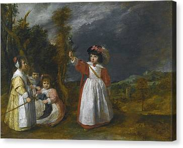 Young Children At Play In A Landscape Canvas Print