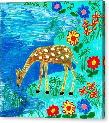 Young Deer Drinking Canvas Print by Sushila Burgess