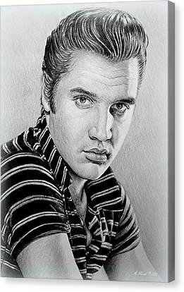 Young Elvis Bw Canvas Print by Andrew Read