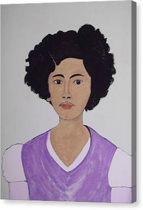 Canvas Print featuring the painting Young Frida by Stephanie Moore