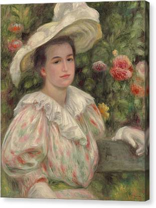 Young Girl Amongst Flowers Or Woman With White Hat Canvas Print by Pierre Auguste Renoir