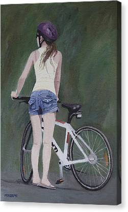 Young Girl And Bicycle Canvas Print