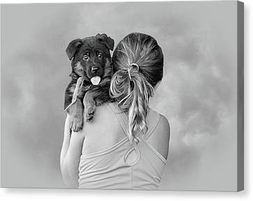 Young Girl And Puppy Canvas Print