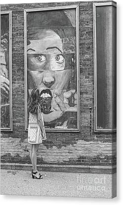 Young Girl And Wall Art Black And White Canvas Print by Randy Steele