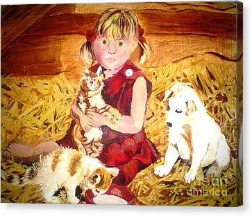 Young Girl In A Barn Canvas Print