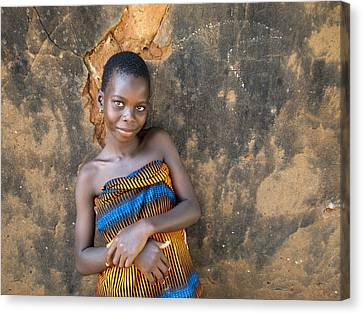 Young Girl In A Togo Village  Canvas Print by David Smith