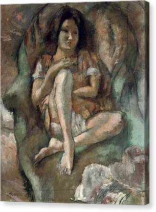 Young Girl In An Armchair Canvas Print by Jules Pascin