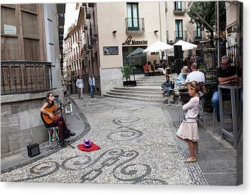 Canvas Print featuring the photograph Young Girl Listening To Guitar - Grenada - Spain by Madeline Ellis