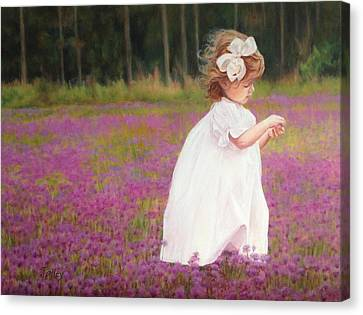 Young Girl Picking Flowers Canvas Print by Pam Talley