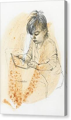 Young Girl Reading Canvas Print by Roz McQuillan