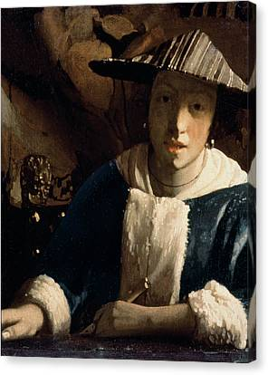 Young Girl With A Flute Canvas Print by Jan Vermeer