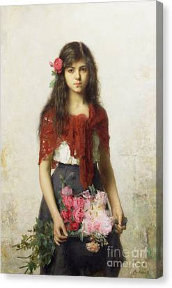 Young Girl With Blossoms Canvas Print by Alexei Alexevich Harlamoff